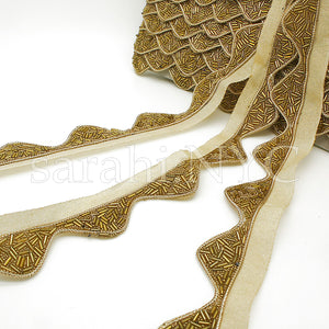 GOLD  WAVE EDGING BUGLE BEADED FABRIC TRIM - sarahi.NYC - Sarahi.NYC