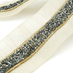 BLACK BUGLE BEADED FABRIC TRIM - sarahi.NYC - Sarahi.NYC
