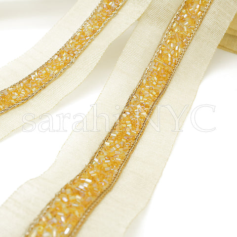 YELLOW GOLD BUGLE BEADED FABRIC TRIM - sarahi.NYC - Sarahi.NYC