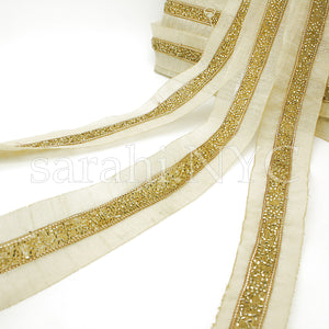GOLD BUGLE BEADED FABRIC TRIM - sarahi.NYC - Sarahi.NYC