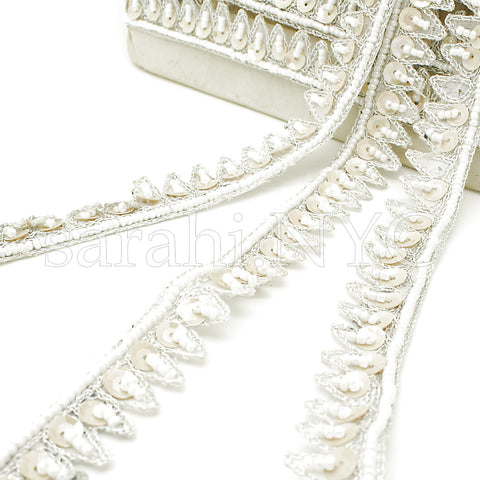 WHITE ZIGZAG SEQUIN BEADED TRIM - sarahi.NYC - Sarahi.NYC