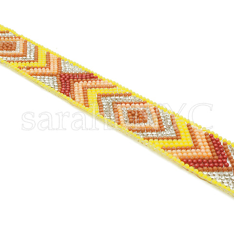YELLOW ORANGE TRIBAL STONE HOTFIX STRIP TRIM- sarahi.NYC - Sarahi.NYC