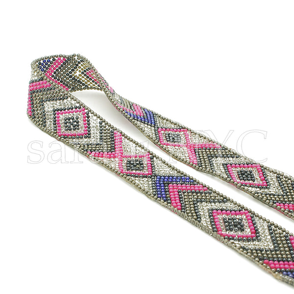 PINK BLUE TRIBAL STONE HOTFIX STRIP TRIM- sarahi.NYC - Sarahi.NYC