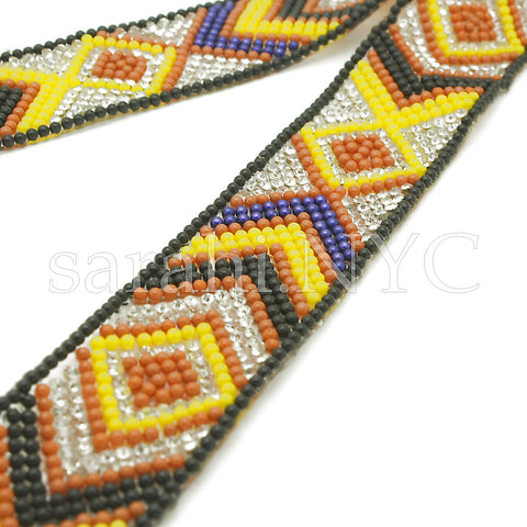 YELLOW BLACK TRIBAL STONE HOTFIX STRIP TRIM- sarahi.NYC - Sarahi.NYC