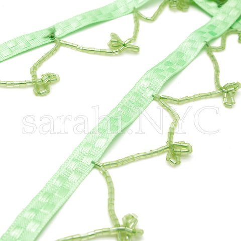LIME GREEN BEADED FRINGE - sarahi.NYC - Sarahi.NYC