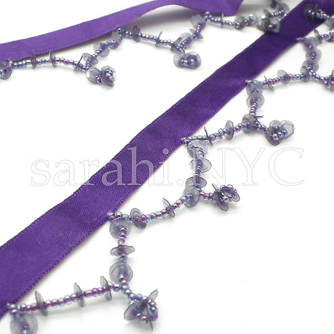 PURPLE SEQUIN BEADED FRINGE - sarahi.NYC - Sarahi.NYC