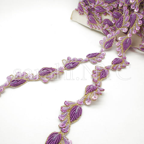 LILAC GOLD PAISLEY TRIM EDGING - sarahi.NYC - Sarahi.NYC