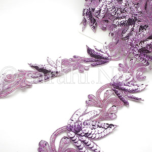 LILAC SEQUIN BEADED FLORAL TRIM - sarahi.NYC - Sarahi.NYC