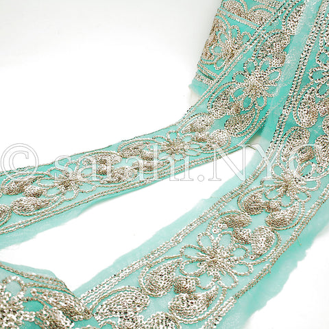 LIGHT BLUE & GOLD SEQUIN EMBROIDERY TRIM - sarahi.NYC - Sarahi.NYC