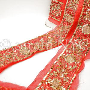 RED GOLD SEQUIN EMBROIDERY RIBBON TRIM - sarahi.NYC - Sarahi.NYC
