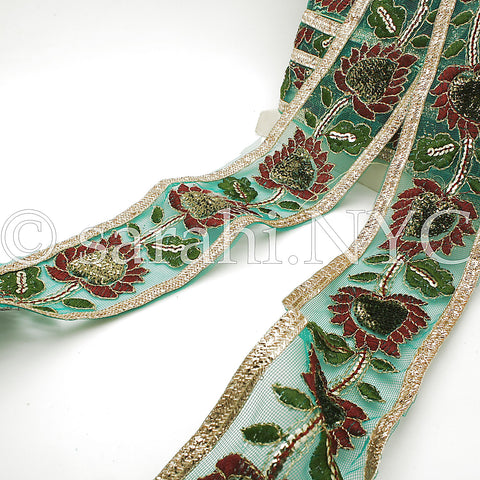 GREEN MESH EMBROIDERY RIBBON TRIM - sarahi.NYC - Sarahi.NYC