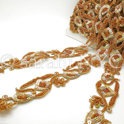 RUSTY ORANGE FLORAL SEQUIN EMBROIDERY TRIM - sarahi.NYC - Sarahi.NYC