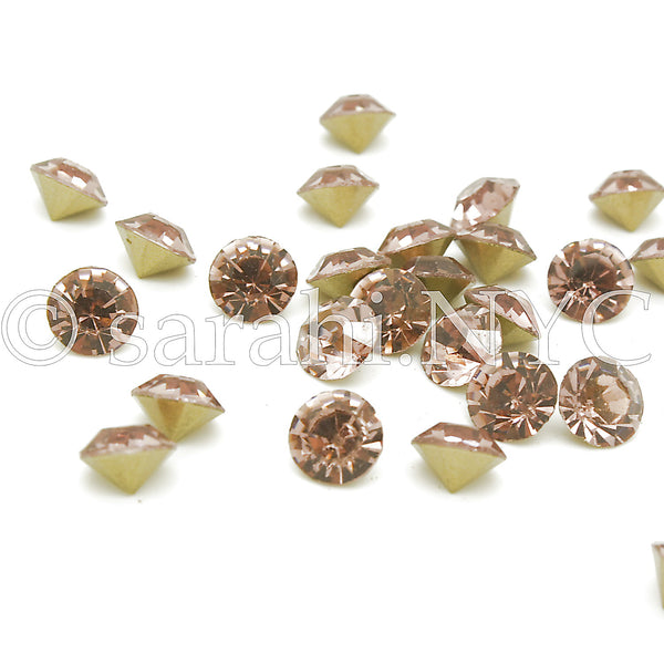 10 X 8mm PINK ROSE GOLD CHATON CRYSTALS   - sarahi.NYC - Sarahi.NYC