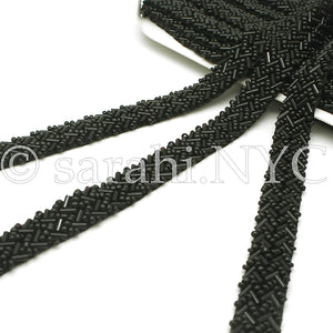 BLACK BEADED TRIM - sarahi.NYC