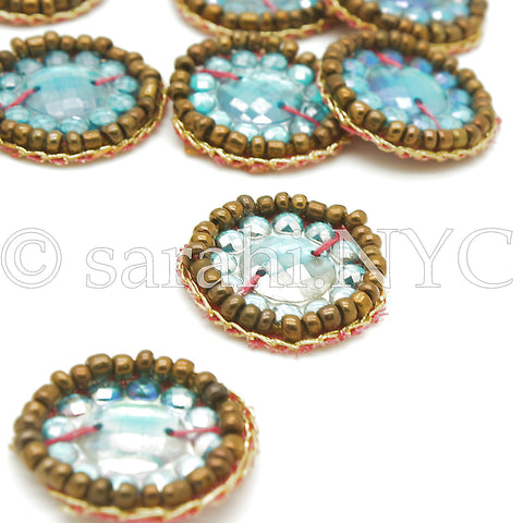 10 X TURQUOISE BEADED GEMS - sarahi.NYC