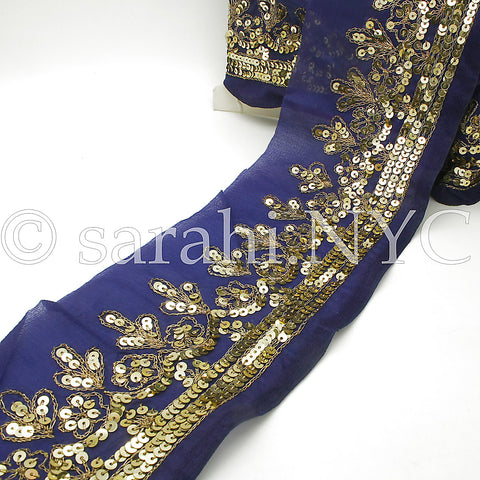 BLUE & GOLD SEQUIN EMBROIDERY TRIM - sarahi.NYC