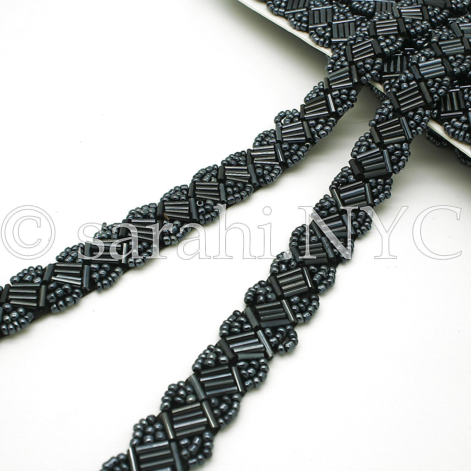 GUNMETAL GRAY BEADED TRIM - sarahi.NYC - Sarahi.NYC