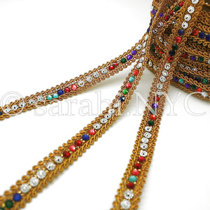MULTI-COLOR GOLD RHINESTION THIN TRIM - sarahi.NYC