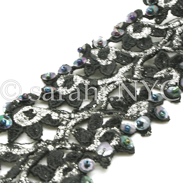 BLACK SILVER SEQUIN LACE TRIM - sarahi.NYC - Sarahi.NYC