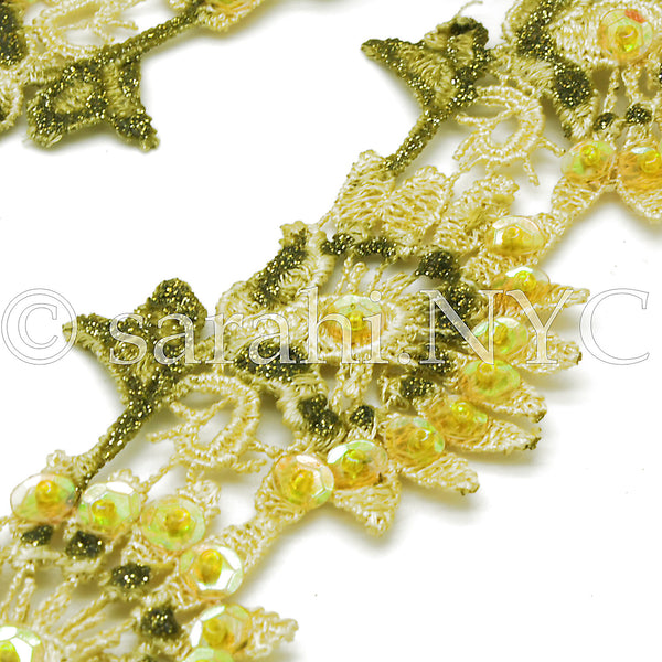 YELLLOW GREEN SEQUIN LACE TRIM - sarahi.NYC