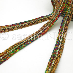 MULTI COLOR CRYSTAL WOVEN TRIM - sarahi.NYC