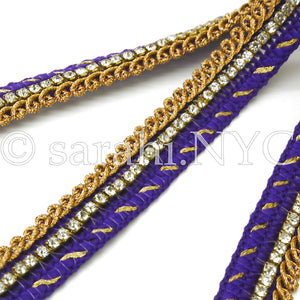 PURPLE CRYSTAL WOVEN TRIM - sarahi.NYC - Sarahi.NYC