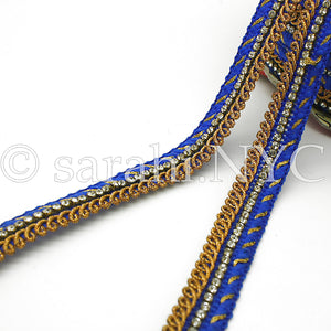 BLUE CRYSTAL WOVEN TRIM - sarahi.NYC