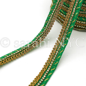 GREEN CRYSTAL WOVEN TRIM - sarahi.NYC
