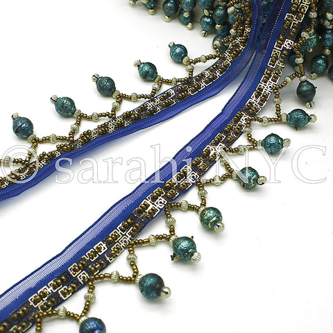 BLUE TEAL BEADED FRINGE TRIM - sarahi.NYC