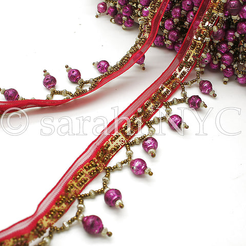 PINK BEADED FRINGE TRIM - sarahi.NYC