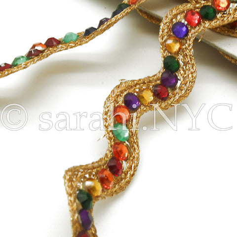 MULTI COLOR ZIG-ZAG RHINESTONE TRIM - sarahi.NYC