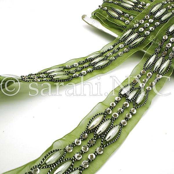 GREEN RIBBON BEADED TRIM - sarahi.NYC