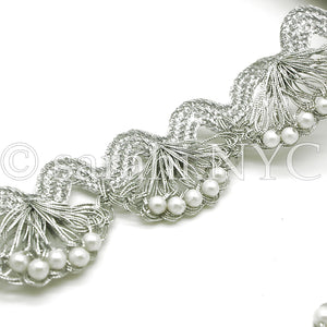 SILVER CROCHET PEARL EDGING TRIM - sarahi.NYC
