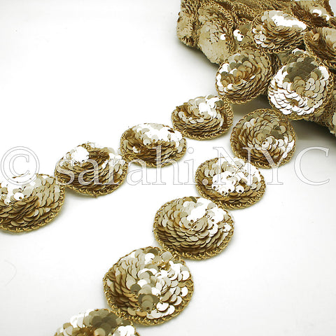 GOLD CIRCLE SEQUIN TRIM - sarahi.NYC