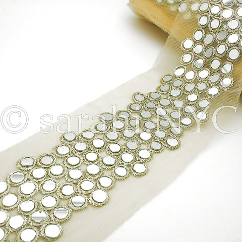GOLD  CIRCLE MIRROR NET TRIM - sarahi.NYC