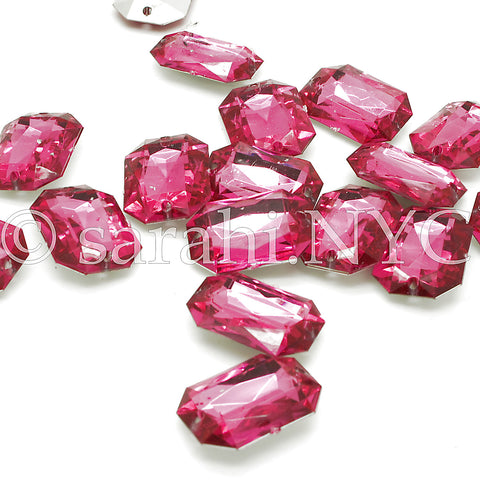 PACK OF 10 - PINK RECTANGLE 25 mm RHINESTONE GEMS - sarahi.NYC - Sarahi.NYC