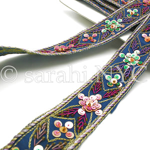 BLUE ETHNIC EMBROIDERED SEQUIN TRIM - sarahi.NYC - Sarahi.NYC