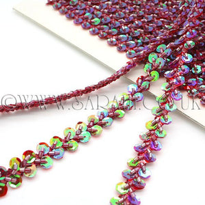 MAROON SEQUIN BEADED TRIM - sarahi.NYC - Sarahi.NYC
