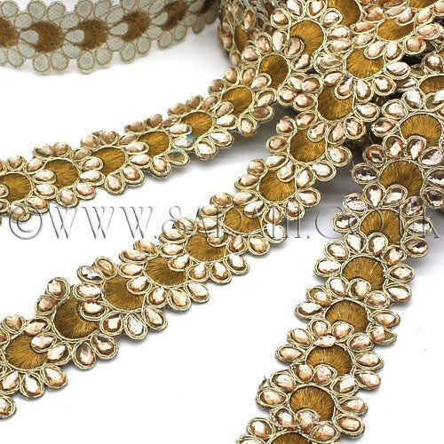 BROWN RHINESTONE FABRIC TRIM - sarahi.NYC - Sarahi.NYC