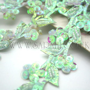 IRIDESCENT SEA GREEN  FLORAL  TRIM - sarahi.NYC - Sarahi.NYC