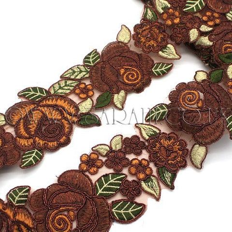 BROWN ROSE FABRIC TRIM - sarahi.NYC - Sarahi.NYC