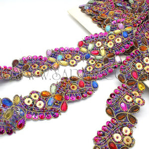 MULTI  GEM SEQUIN BEADED TRIM - sarahi.NYC - Sarahi.NYC