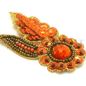 ORANGE GOLD  FLORAL GEM MOTIF - sarahi.NYC - Sarahi.NYC