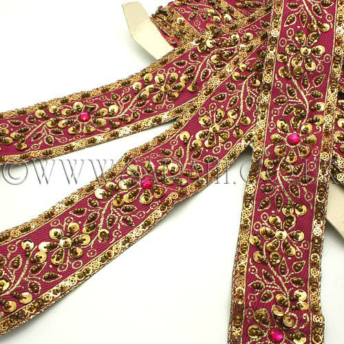 PINK GOLD BEADED & SEQUIN RIBBON  TRIM - sarahi.NYC - Sarahi.NYC