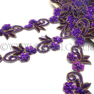 PURPLE SEQUIN FLORAL BEADED TRIM - sarahi.NYC - Sarahi.NYC