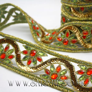 GREEN ORANGE RHINESTONE TRIM - sarahi.NYC - Sarahi.NYC