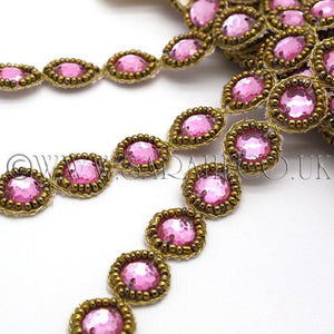 LIGHT PINK CIRCLE BEADED RHINESTONE TRIM - sarahi.NYC - Sarahi.NYC