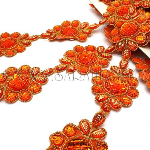 ORANGE FLORAL RHINESTONE BEADED RHINESTONE TRIM - sarahi.NYC - Sarahi.NYC
