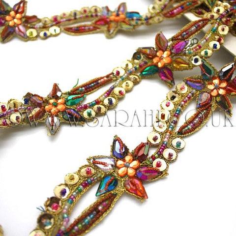 GOLD MULTI RHINESTONE BEADED TRIM - sarahi.NYC - Sarahi.NYC