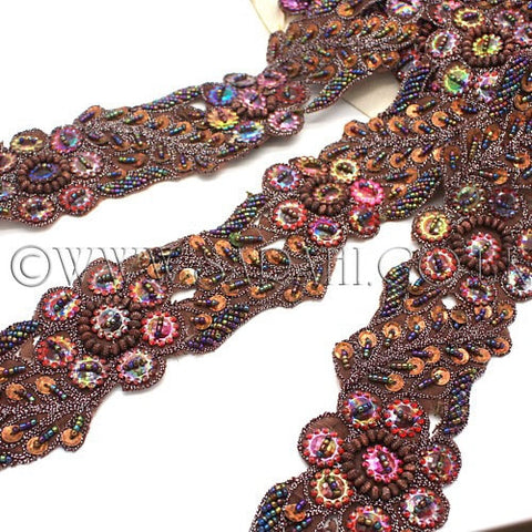 BROWN BEADED TRIM - sarahi.NYC - Sarahi.NYC